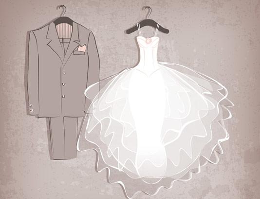 وکتور بکگراند لباس عروس و داماد