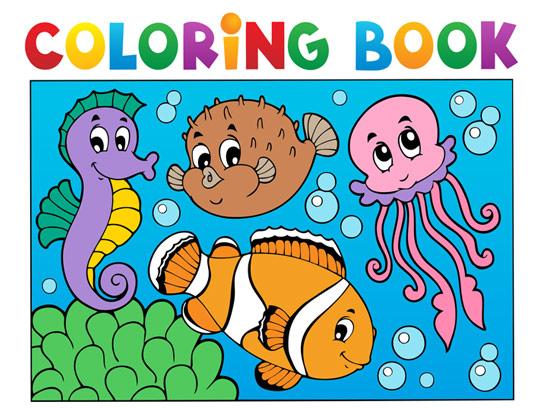 وکتور رنگ آمیزی کودکان ماهی