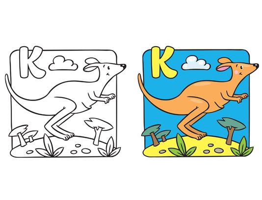 آموزش رنگ آمیزی و حرف K برای کودکان