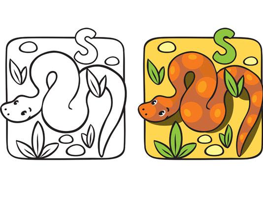 آموزش رنگ آمیزی و حرف S برای کودکان