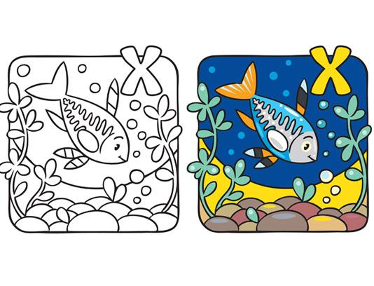آموزش رنگ آمیزی و حرف X برای کودکان