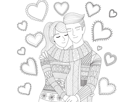 وکتور طرح عاشقانه رنگ آمیزی بزرگسالان
