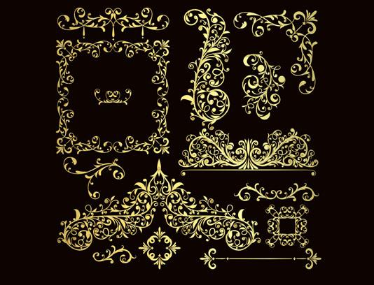 وکتور المان های گل و بوته طلایی رنگ لوکس