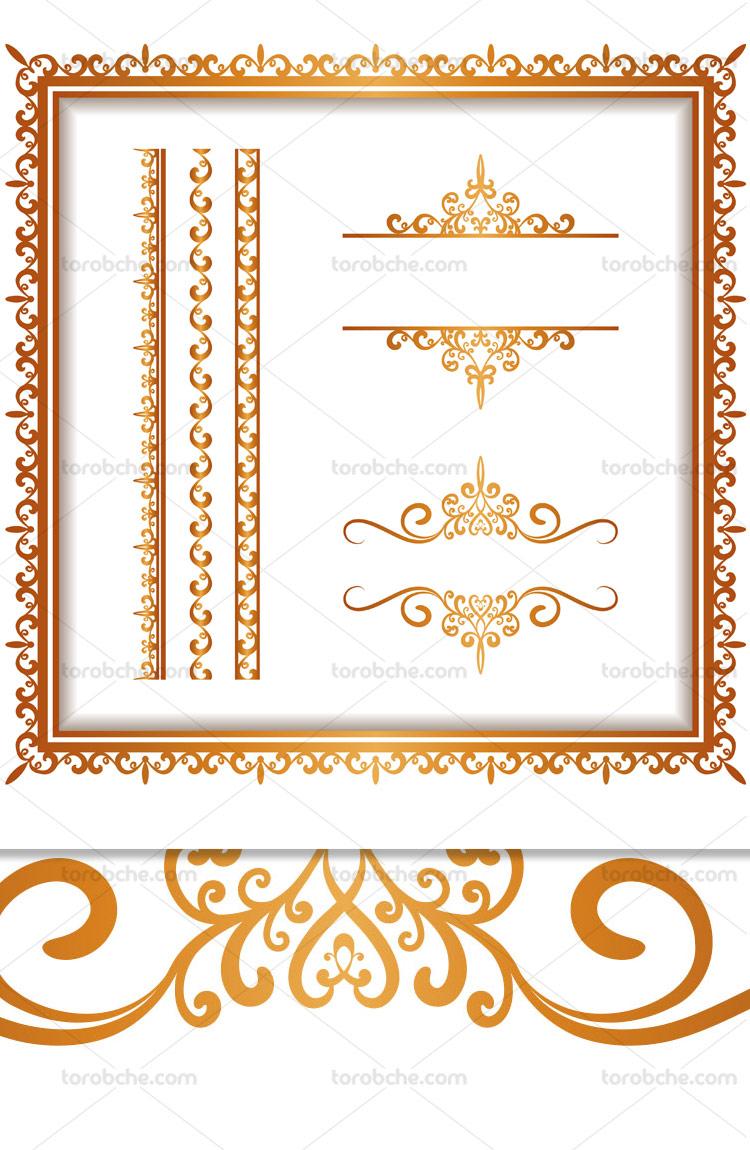 وکتور کادر و حاشیه ی سفید طلایی