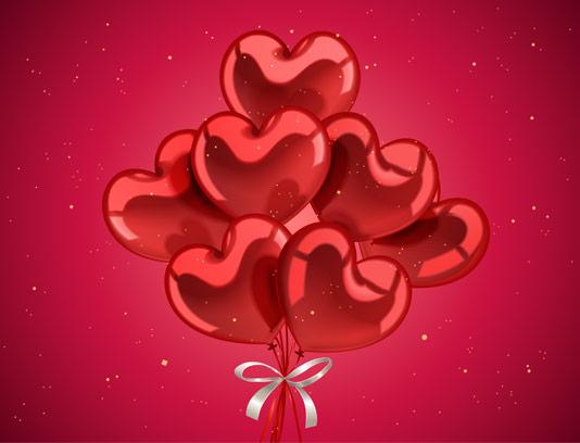 وکتور قلب های بادکنکی مخصوص ولنتاین