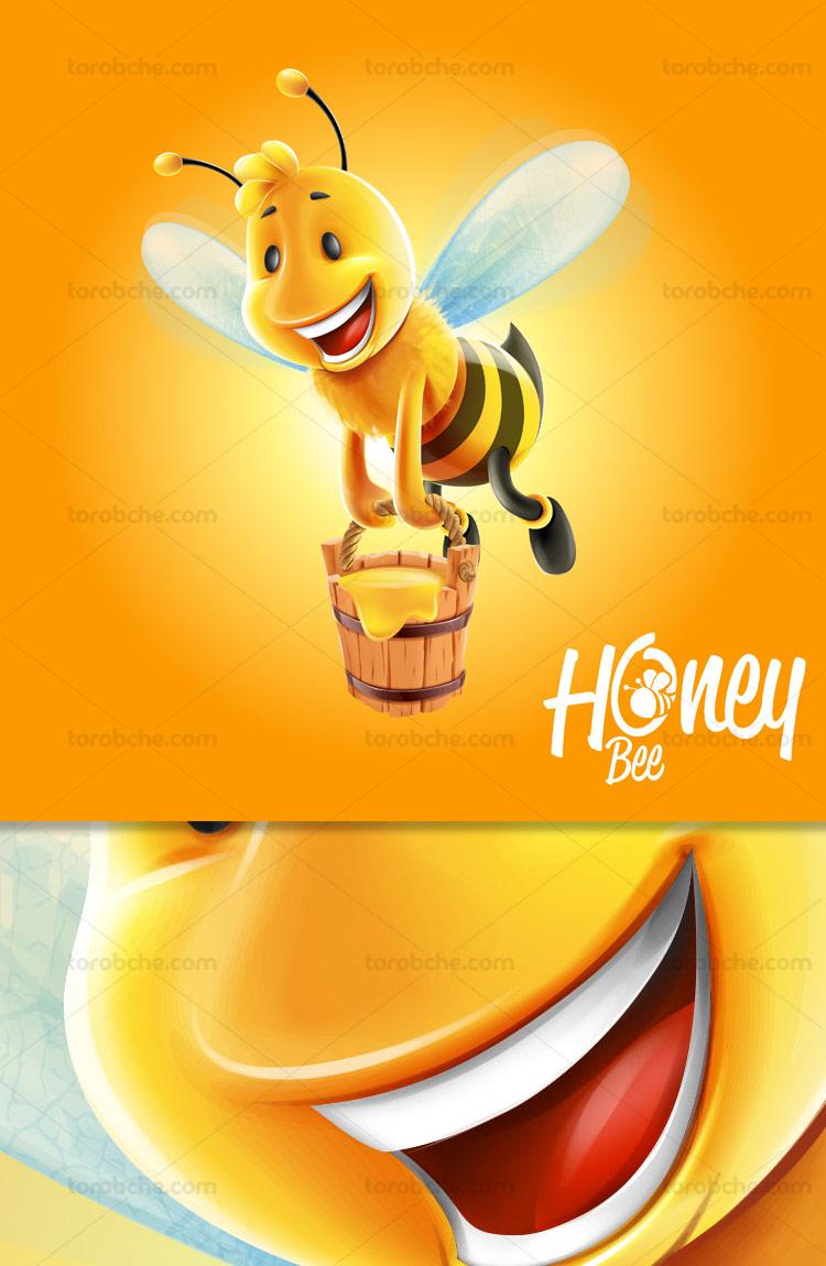 وکتور شخصیت کارتونی زنبور عسل