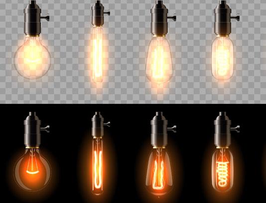 وکتور لامپ های رشته ای قدیمی