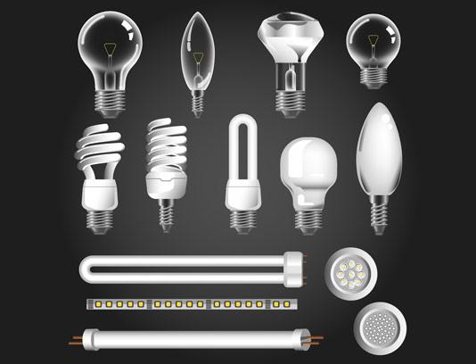 وکتور انواع لامپ های رشته ای و کم مصرف