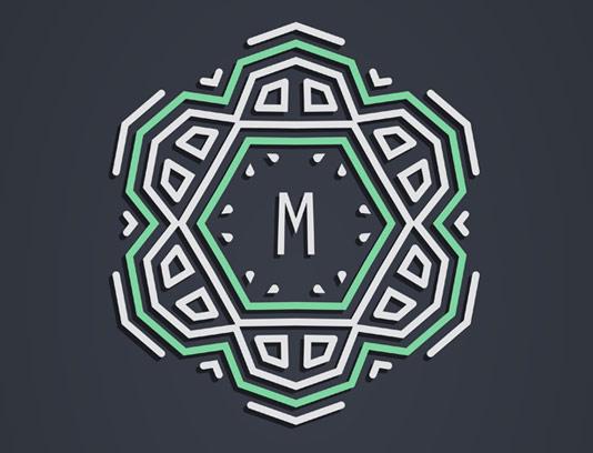 وکتور لوگو مونوگرام کلاسیک حرف M