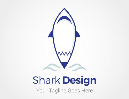 وکتور لوگو کوسه ماهی آبی رنگ