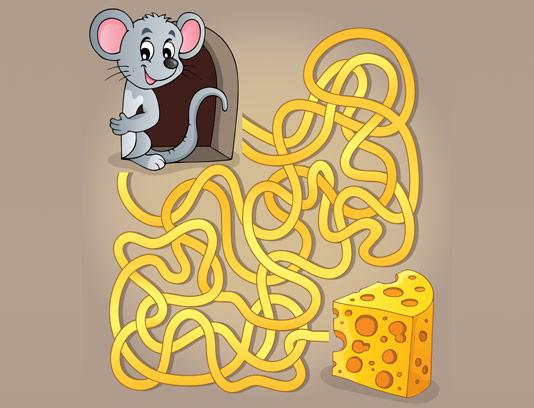 وکتور بازی مسیریابی موش و پنیر کودکان