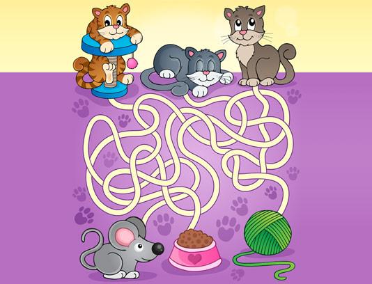 وکتور بازی مسیریابی گربه کودکان