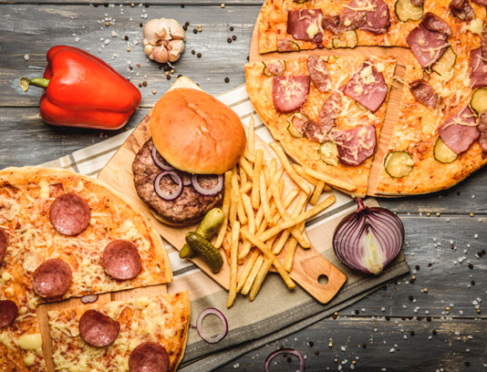 عکس با کیفیت پیتزا و ساندویچ