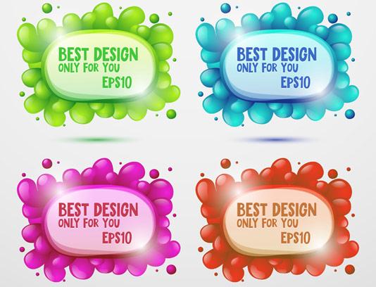 وکتور قاب متنی خلاقانه در چهار رنگ