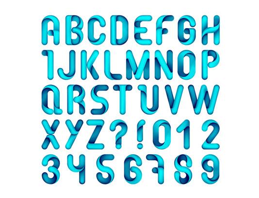 وکتور حروف لاتین انتزاعی آبی
