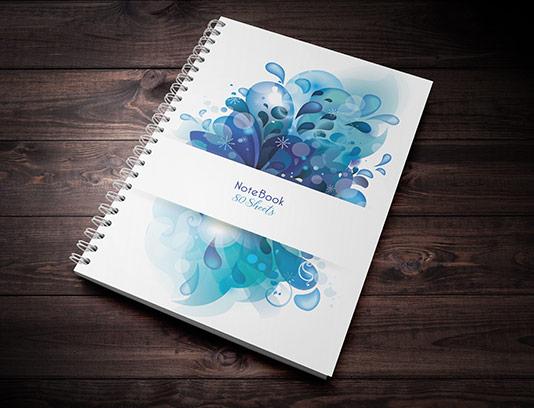 طرح لایه باز جلد دفتر با گل های انتزاعی