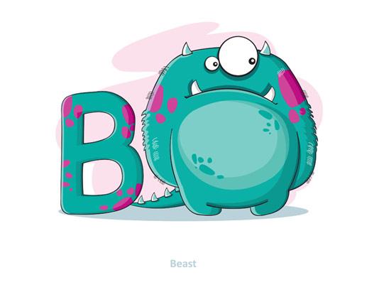 وکتور آموزشی حروف لاتین کودکان حرف B
