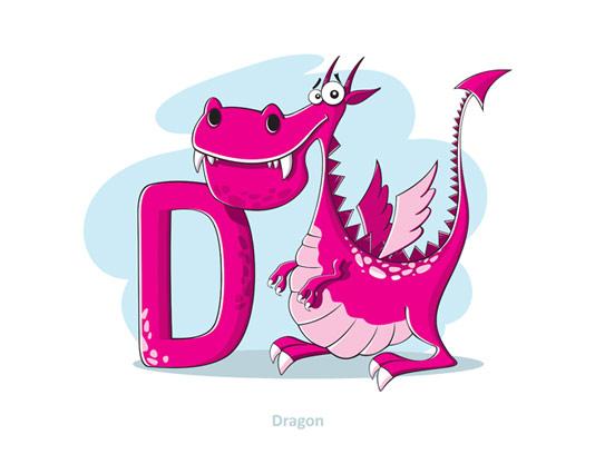 وکتور آموزشی حروف لاتین کودکان حرف D