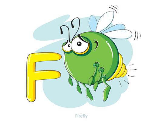 وکتور آموزشی حروف لاتین کودکان حرف F