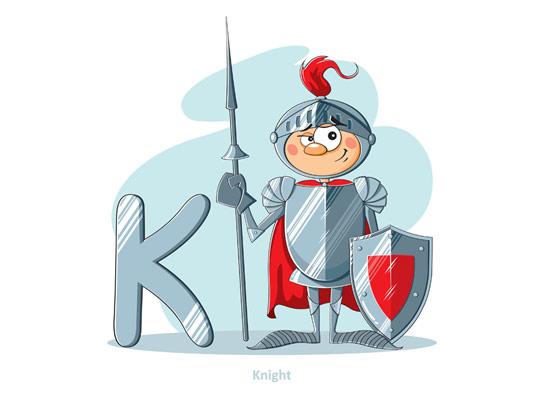وکتور آموزشی حروف لاتین کودکان حرف K
