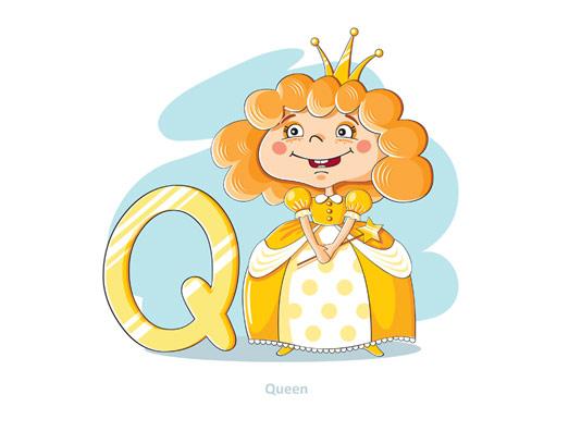 وکتور آموزشی حروف لاتین کودکان حرف Q