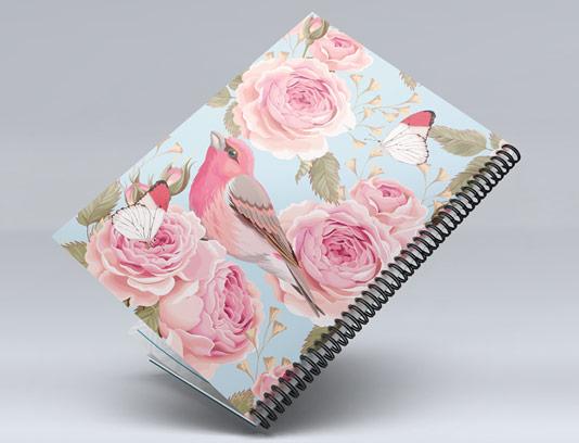 طرح لایه باز جلد دفتر گل و پرنده