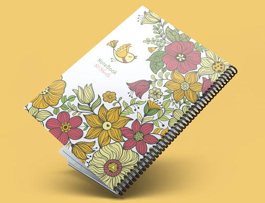 طرح لایه باز جلد دفتر فانتزی گل و مرغ