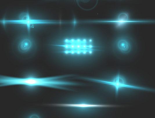 وکتور افکت نورهای درخشان آبی