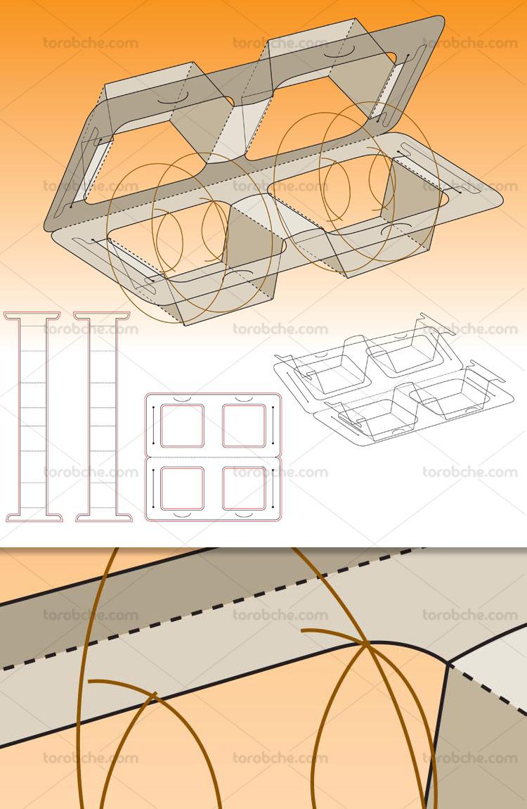 وکتور صفحه گسترده بسته بندی جعبه در دار