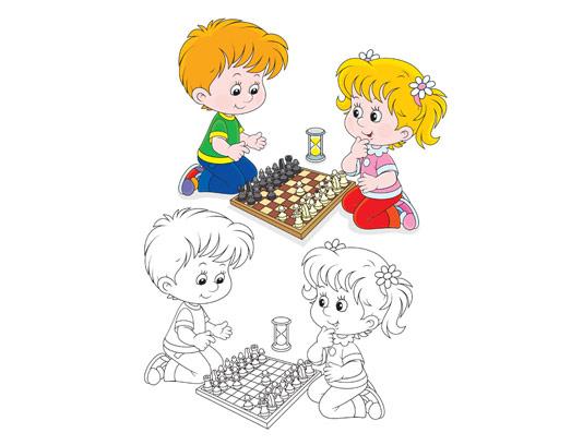 وکتور رنگ آمیزی کودکان بازی شطرنج