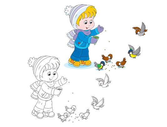 وکتور رنگ آمیزی کودکان غذا دادن به پرندگان