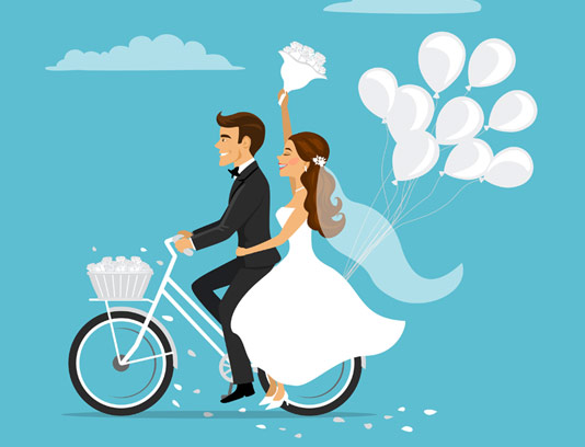 وکتور عروس و داماد دوچرخه سوار