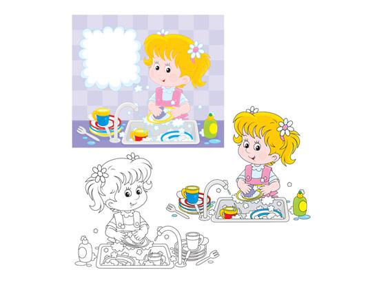 وکتور رنگ آمیزی کودکان شستن ظرف