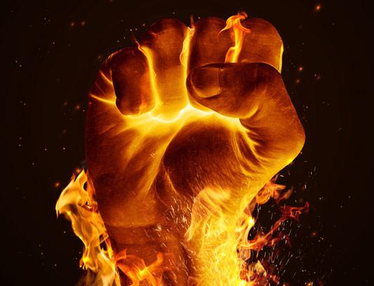 عکس با کیفیت مشت آتشین