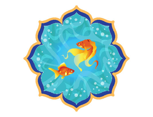 وکتور ماهی قرمز و حوض آبی