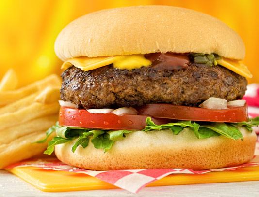 عکس با کیفیت همبرگر با پنیر گودا