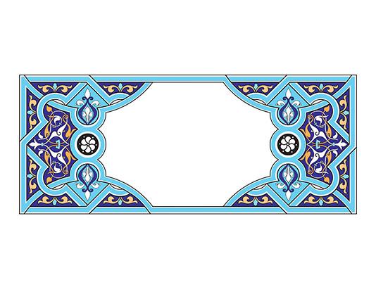 وکتور طرح کادر و حاشیه تذهیب آبی رنگ