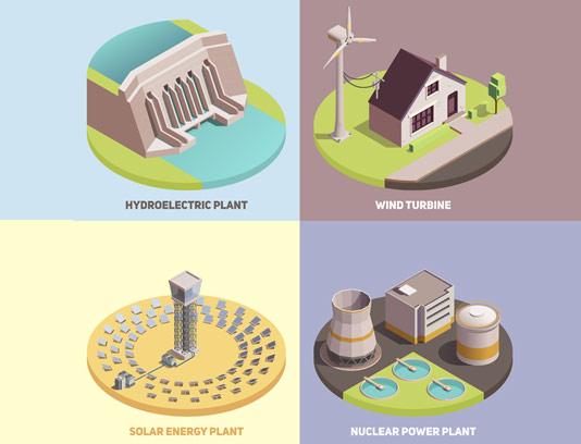 وکتور ایزومتریک نیروگاه آبی، خورشیدی