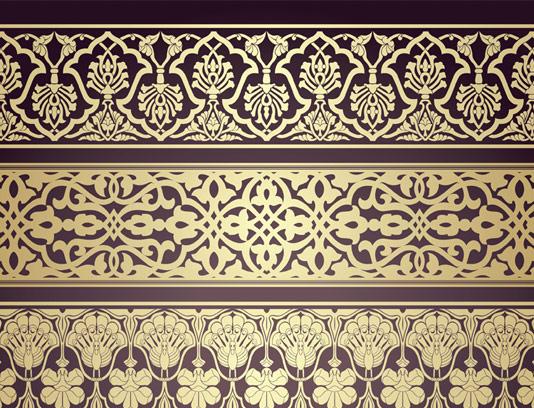 وکتور حاشیه طلایی رنگ سنتی