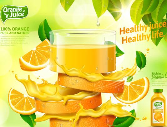 وکتور تبلیغاتی خلاقانه آب پرتقال