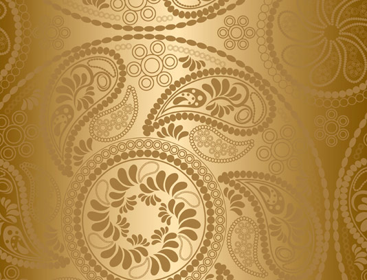 وکتور پترن بته جقه طلایی رنگ