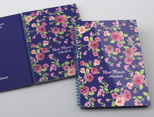 طرح لایه باز جلد دفتر گل رز صورتی