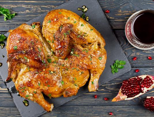 عکس با کیفیت مرغ بریان با سس انار