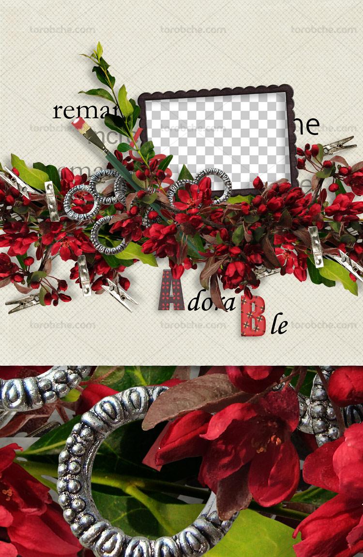 قاب عکس عاشقانه با گل های قرمز