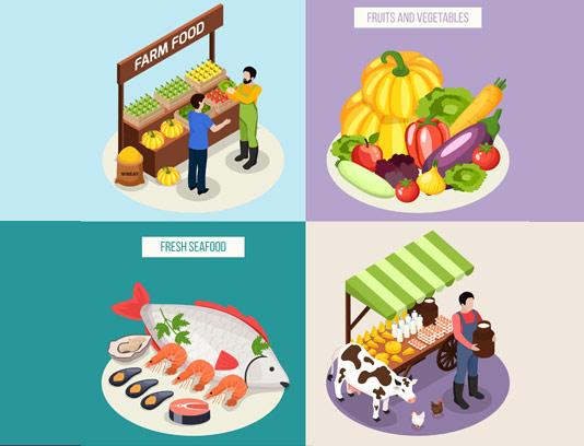 وکتور فروش محصولات کشاورزی و دامی