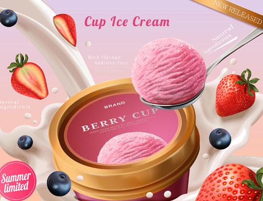 وکتور تبلیغاتی بستنی توت فرنگی