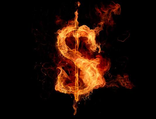 عکس با کیفیت نماد دلار آتشین