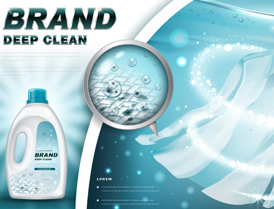 وکتور تبلیغاتی مایع لباسشویی