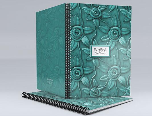 طرح لایه باز جلد دفتر گلدار سه بعدی