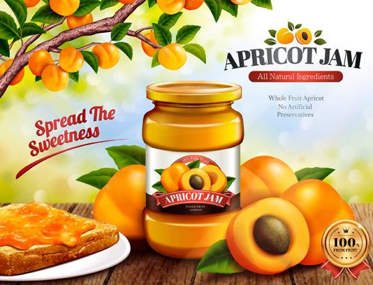 وکتور تبلیغاتی مربای زردآلو